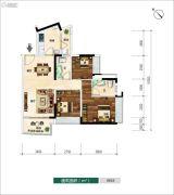 广佛新世界3室2厅2卫93平方米户型图