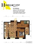 巴塞罗那2室2厅1卫87平方米户型图