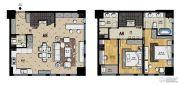 帝景现代城3室2厅3卫90平方米户型图
