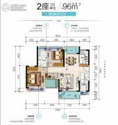 金辉・优步大道3室2厅2卫96平方米户型图