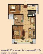 淳茂公园城3室2厅1卫86--97平方米户型图