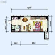 华府新天地1室2厅1卫70平方米户型图