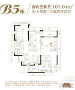 江屿朗廷3室2厅2卫107平方米户型图