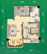 东和园1室1厅1卫39平方米户型图
