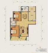 勒泰城2室2厅1卫120平方米户型图