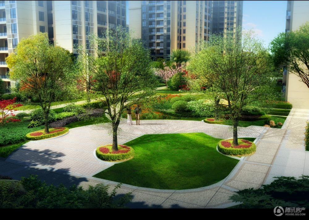 倾城里社区中庭绿化效果图