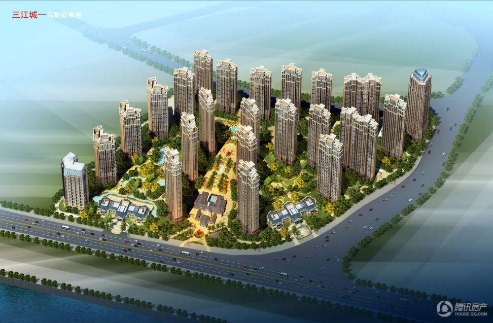 三江城总体鸟瞰图