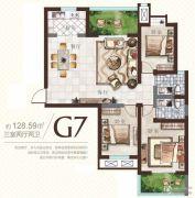 广厦曼哈顿3室2厅2卫128平方米户型图