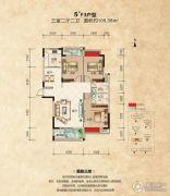 山水华庭3室2厅2卫109平方米户型图