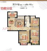 煌庭棕榈湾3室2厅1卫86--95平方米户型图