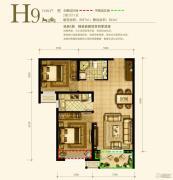 永定河孔雀城英国宫2室2厅1卫87平方米户型图