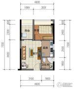 华强城市广场1室1厅1卫44平方米户型图