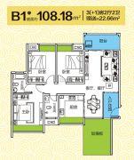 顺祥城3室2厅2卫108平方米户型图