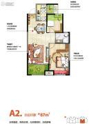 金科天籁城2室2厅1卫87平方米户型图