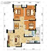 积家御景3室2厅1卫85平方米户型图