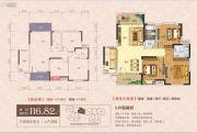 东城国际3室2厅2卫116平方米户型图