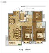 地铁万科时代广场3室2厅2卫110平方米户型图