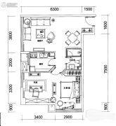 巴登巴登国际温泉养生公寓2室2厅1卫62平方米户型图
