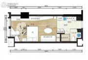 步步高・梅溪新天地1室2厅1卫44平方米户型图