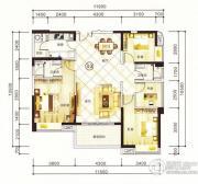 紫园4室2厅2卫132平方米户型图