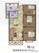 盛锦花园3室2厅1卫96平方米户型图