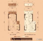 万汇广场2室2厅2卫48平方米户型图