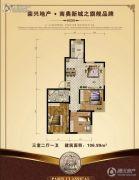 巴黎经典花园3室2厅1卫106--107平方米户型图