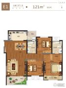 金科城3室2厅1卫121平方米户型图
