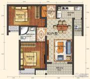 城中半岛2室2厅1卫81平方米户型图