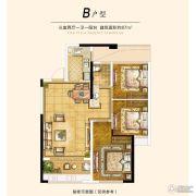 世茂上游墅3室2厅1卫87平方米户型图