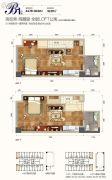西部人才产业园2室2厅2卫44--45平方米户型图