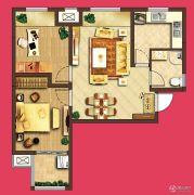 泰盈八千里2室2厅1卫76平方米户型图
