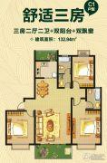 佳田未来城3室2厅2卫135平方米户型图