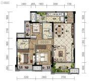 金地自在城3室2厅2卫77--93平方米户型图