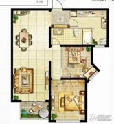 香江湾2室2厅1卫111平方米户型图