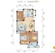 晴园3室2厅1卫89平方米户型图