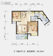 景江国际2室2厅1卫95平方米户型图