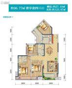 半岛大院(二期)4室2厅2卫96平方米户型图