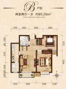 富力城2室2厅1卫85平方米户型图