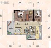 悦尚公馆3室2厅1卫85平方米户型图