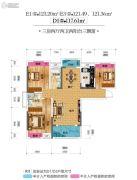 恒隆四季城・金域天下3室2厅2卫117--123平方米户型图