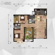 中南明珠2室2厅2卫86平方米户型图