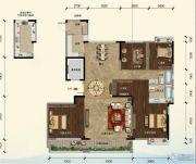 江畔大地4室2厅2卫171平方米户型图