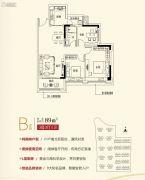 碧桂园御湖城3室2厅1卫89平方米户型图