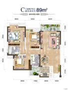 汉诚・605公馆3室2厅2卫89平方米户型图