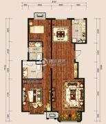 中冶世家2室2厅2卫113平方米户型图