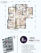 新梅江锦秀里3室2厅2卫0平方米户型图