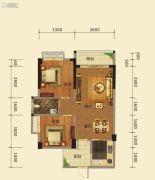 梅花金御2室2厅1卫76平方米户型图