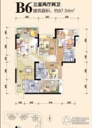 恒邦・时代青江二期3室2厅2卫87平方米户型图