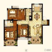 招商1872公园里3室2厅2卫117平方米户型图